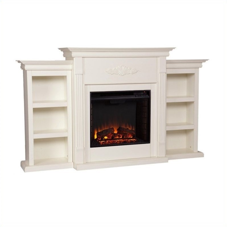 Southern Enterprises Fredricksburg Electric Fireplace W Bookcases In Ivory Fe8544