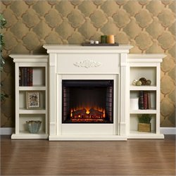 Southern Enterprises Fredricksburg Electric Fireplace w/ Bookcases in Ivory
