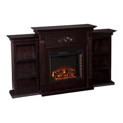 Southern Enterprises Fredricksburg Electric Fireplace w/ Bookcases in Espresso