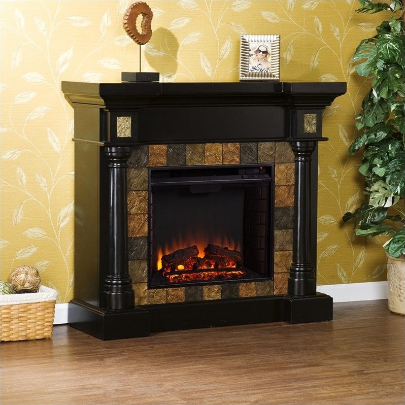 Southern Enterprises Weatherford Convertible Electric Fireplace In Black Fe8752