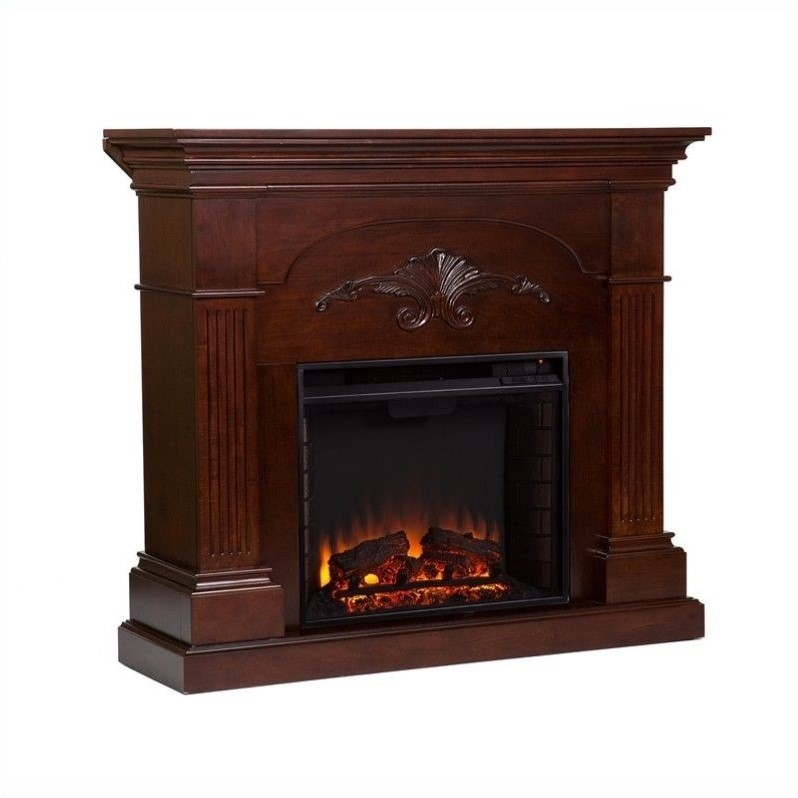 Southern Enterprises Huntington Electric Fireplace In Mahogany Fe9277