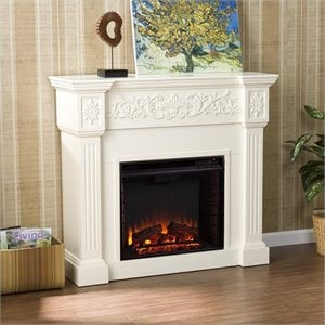 Calvert Carved Electric Fireplace in Ivory