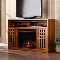 Southern Enterprises Akita Media Electric Fireplace in Glazed Pine