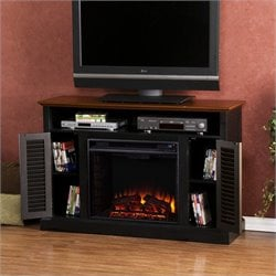 Southern Enterprises Savannah Media Electric Fireplace in Black and Walnut