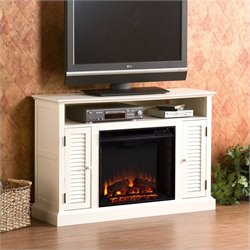 Southern Enterprises Savannah Media Electric Fireplace in Antique White