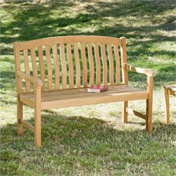 Southern Enterprise 4' Crowne Bench in Light Brown Teakwood Stain