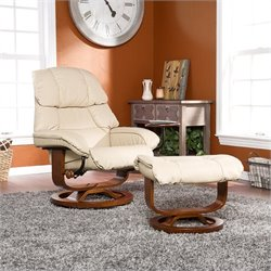 Southern Enterprises Canyon Lake Leather Recliner and Ottoman in Taupe