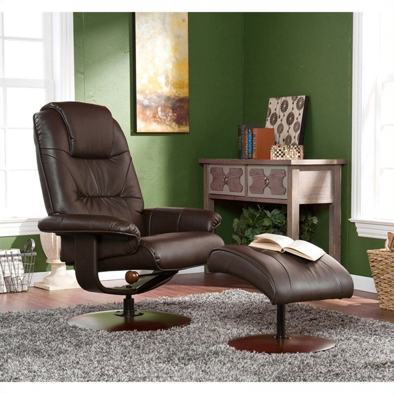 Recliner and Ottoman in Brown