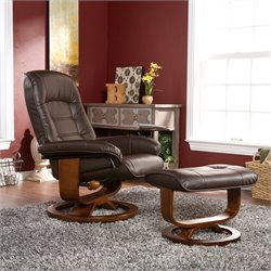Southern Enterprises Hemphill Leather Recliner Chair and Ottoman in Brown