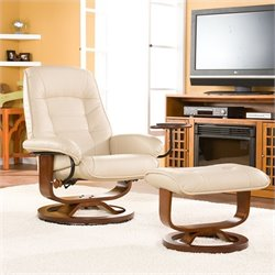 Southern Enterprises Hemphill Leather Recliner Chair and Ottoman in Taupe