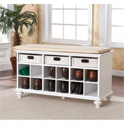 Southern Enterprises Chelmsford Entryway Bench in White Finish