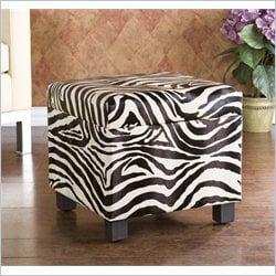 Southern Enterprises Zebra Faux Leather Storage Ottoman