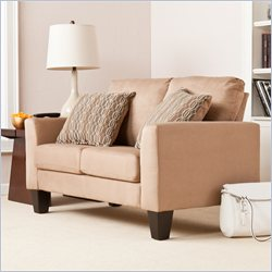 Southern Enterprises Carlton Stationary Loveseat in Mocha Microfiber