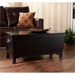 Southern Enterprises Hayden Cocktail Table Trunk in Black Finish