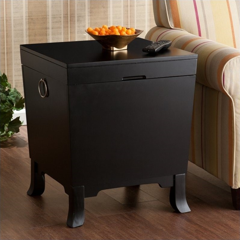 Hayden End Table Trunk in Black Finish