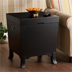Southern Enterprises Hayden End Table Trunk in Black Finish