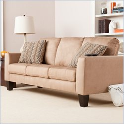 Southern Enterprises Carlton Stationary Sofa in Mocha Microfiber