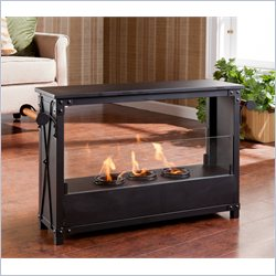 Southern Enterprises Layton Portable Indoor-Outdoor Fireplace in Black
