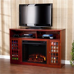 Southern Enterprises Narita Media Mahogany Electric Fireplace