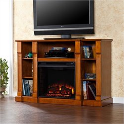 Southern Enterprises Kendall Electric Media Fireplace in Glazed Pine