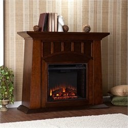 Southern Enterprises Lowery Electric Fireplace in Espresso Finish
