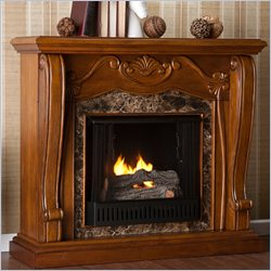 Southern Enterprises Cardona Gel Fuel Fireplace in Walnut Finish