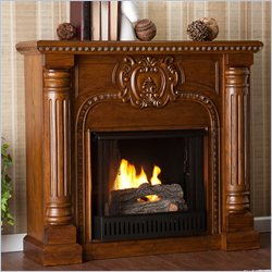 Southern Enterprises Romano Gel Fuel Fireplace in Salem Antique Oak