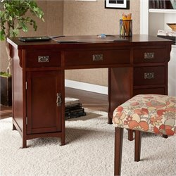 Southern Enterprises Mission Computer Desk in Dark Cherry Finish