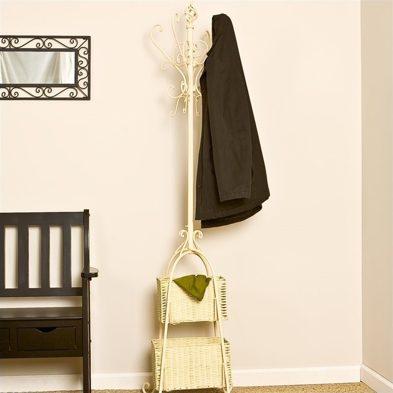 Hall Tree with Rattan Storage in Textured Ivory