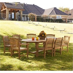 Southern Enterprises 9 Piece Wood Patio Dining Set in Light Brown