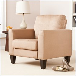Southern Enterprises Carlton Stationary Chair in Mocha Microfiber