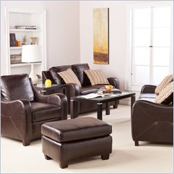 Southern Enterprises Montfort 4 Piece Leather Sofa Set in Chocolate