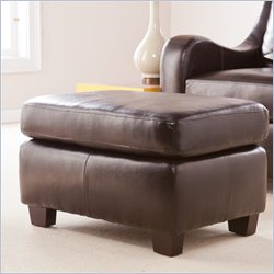 Southern Enterprises Montfort Leather Ottoman in Chocolate