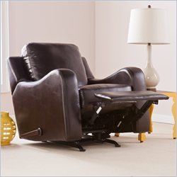 Southern Enterprises Montfort Leather Rocker Recliner in Chocolate