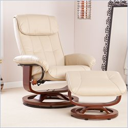 Southern Enterprises Leather Recliner and Ottoman in Taupe