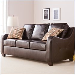Southern Enterprises Montfort Leather Stationary Sofa in Chocolate