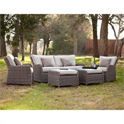 Southern Enterprises Avadi 5 Piece Outdoor Set in Gray and Beige