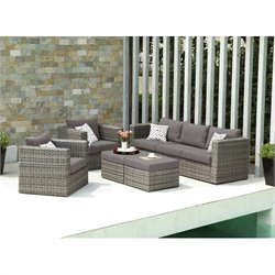 Southern Enterprises Bristow 5 Piece Outdoor Sofa Set in Gray