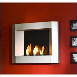Southern Enterprises Wall Mount Fireplace in Textured Powder Silver