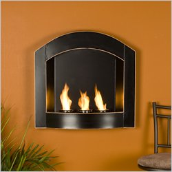 Southern Enterprises Topher Wall Mount Arch Fireplace in Black w/ Copper Distressing