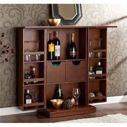 Southern Enterprises Archer Fold-Away Home Bar in Walnut