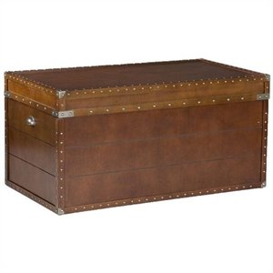 Southern Enterprises Bristol Trunk Cocktail Table in Walnut
