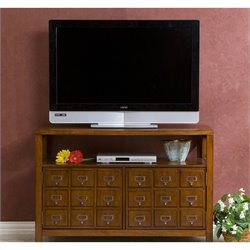 Southern Enterprises Hamilton Double-Door Media Stand in Brown Mahogany