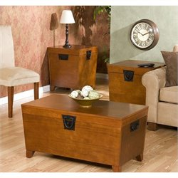 Southern Enterprise Dorset 3 Piece Trunk Table Collection in Oak