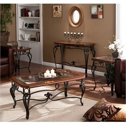 Southern Enterprises Newcastle 4 Piece Coffee Table Set in Dark Cherry