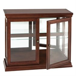 Southern Enterprises Mahogany Curio Console/Sofa Table with Glass Doors