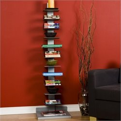 Southern Enterprises Heights 11 Shelf Book Tower in Painted Silver