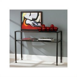 Southern Enterprises Black Sofa Table with Glass Top