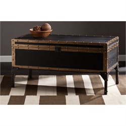 Southern Enterprises Drifton Travel Trunk Coffee Table in Black