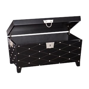 Southern Enterprises Nailhead Trunk Coffee Table in Black and Silver
